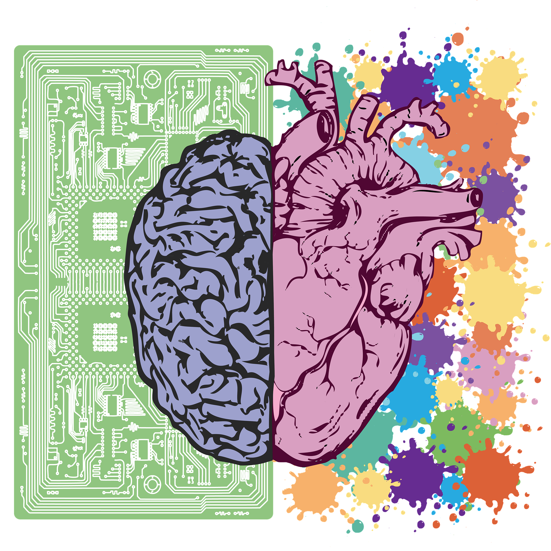 The right and left hemispheres of the brain with each side a different color.  The left side is drawn against the background of a computer chip and the right against a background of splashes of different bright colors.